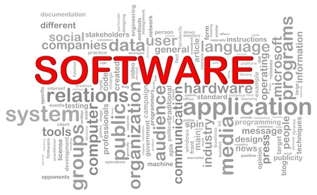 software package: Illustration of computer software wordcloud