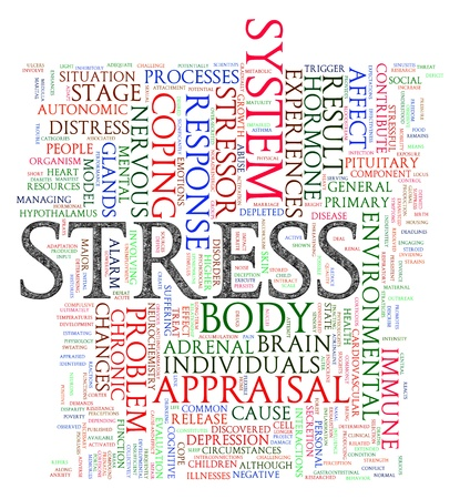 physical impairment: Illustration of word tags of stress wordcloud