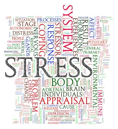 terapia psicologica: Ilustraci�n de las etiquetas de palabras de estr�s wordcloud Foto de archivo