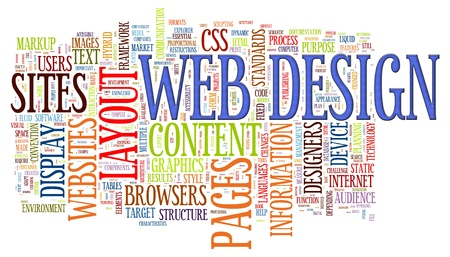website words: Illustration of wordcloud of web design tags Stock Photo