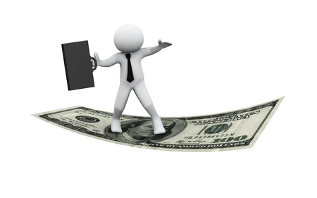 make money fast: 3d Illustration of man with briefcase flying on dollar note. 3d rendering of human character businessman.