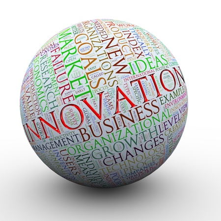 business process: 3d Illustration of innovation wordcloud ball