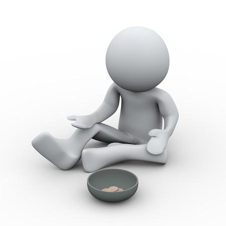 begging: 3d Illustration of hopeless man begging for money  3d rendering of human character