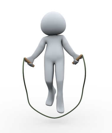 3d Illustration of man jumping rope  3d rendering of human character illustration