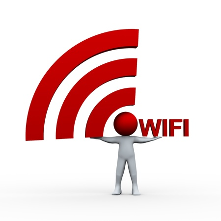 3d illustration of person holding wifi icon and word   3d rendering of human character  illustration