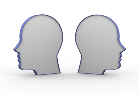 opposing: 3d illustration of two opposite human heads  Concept of disagreement