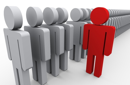 standing out from the crowd: 3d illustration of unique red man out of people line  Conecpt of standing out from crowd