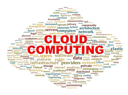 Illustration of cloud computing technology word tags wordcloud Stock Illustration - 21023007