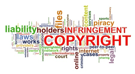 Illustration of word tags representing concept of copyright infringement  illustration