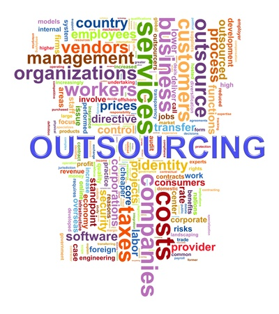 outsourcing: Illustration of wordcloud tags related to concept outsourcing
