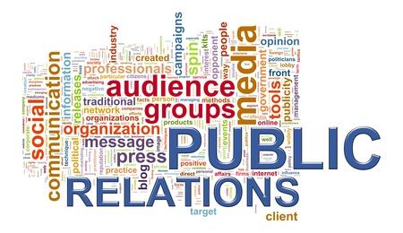 publicity: Illustration of public relations wordcloud