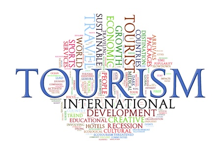 textcloud: Illustration of tourism word tags wordcloud Stock Photo