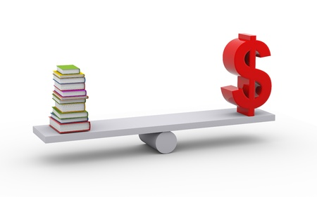 financial stability: 3d illustration of stack of books and dollar symbol on scale Stock Photo