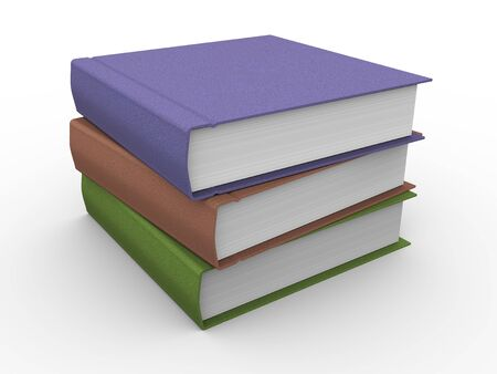 reading materials: 3d illustration of stack of books on white background
