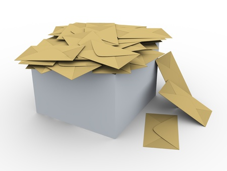 inbox: 3d illustration of box full of envelopes