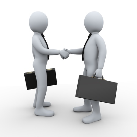 3d Illustration of businessman shaking hands with his business partner  3d rendering of human businessman character illustration