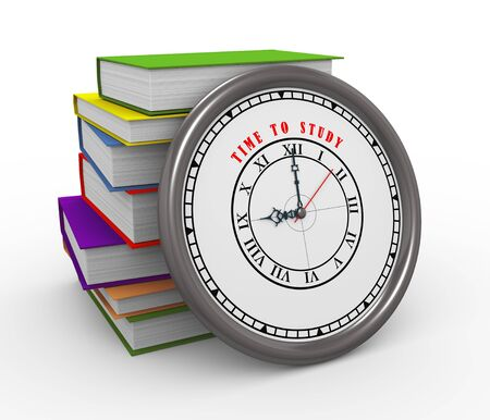 speed test: 3d illustration of time to study clock and stack of books Stock Photo
