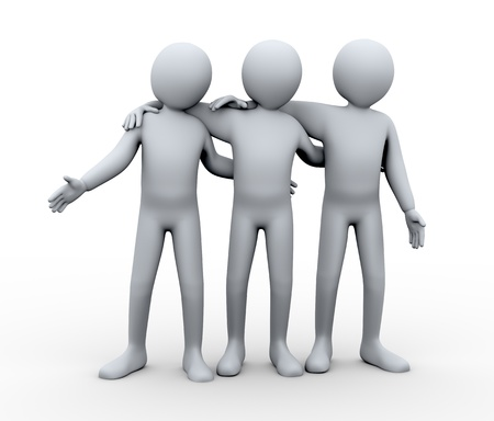 three friends: 3d illustration of three friends hugging  3d rendering of human character and friendship concept