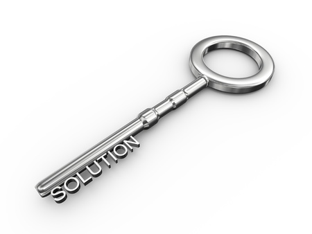 leadership key: 3d illustration of silver key with word solution