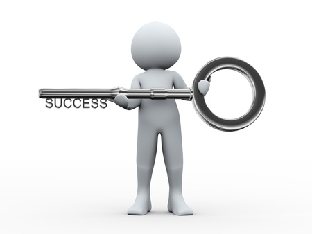 leadership key: 3d illustration of person holding key with word success  3d rendering of human character  Stock Photo