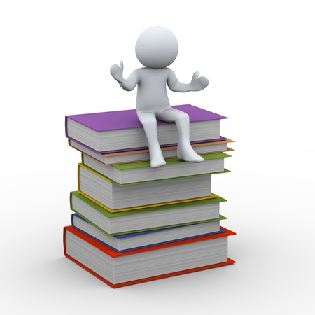 learning materials: 3d illustration of man sitting on top of stack of books  3d rendering of human character