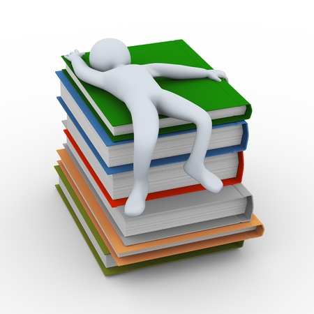 stress test: 3d illustration of person sleeping on stack of books   3d rendering of human character