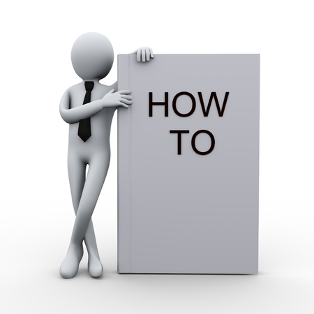 how to: 3d illustration of person with how to book   3d rendering of human character  Stock Photo