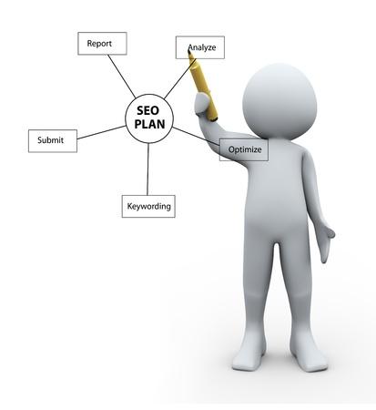 3d Illustration of man drawing seo plan diagram  3d rendering of human character Stock Illustration - 21023375