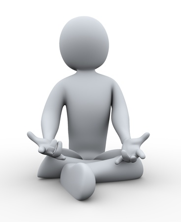 cross legged: 3d illustration of person doing yoga  3d rendering of human character