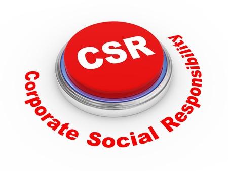 valores morales: 3d ilustraci�n de csr bot�n responsabilidad social de las empresas Foto de archivo