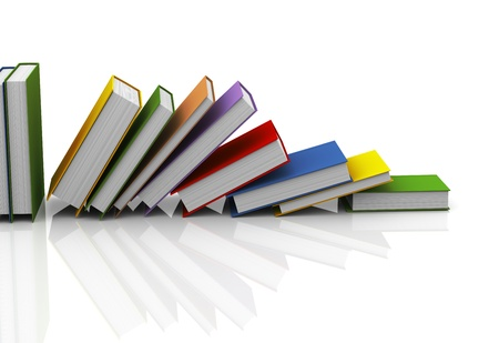 3d illustration of row of books on white reflective background illustration