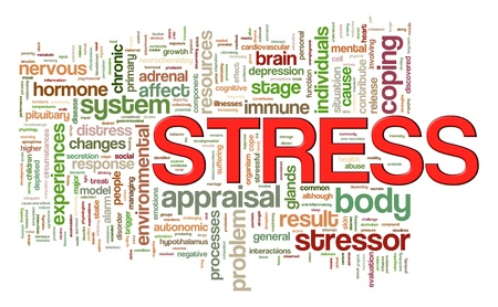 Illustration of wordcloud word tags of stress illustration