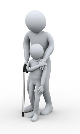 jeune vieux: 3d illustration du petit gar�on aidant vieil homme sur une canne. Rendu 3D du caract�re humain