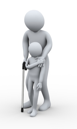 old people in care: 3d illustration of small boy helping old man on walking stick. 3d rendering of human character Stock Photo