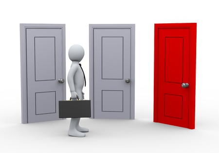 decide: 3d illustration of person and three doors.  3d rendering of people - human character.