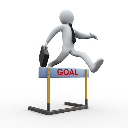 3d illustration of business man with briefcase jumping over goal hurdle. 3d rendering of people - human character. Stock Illustration - 21023463