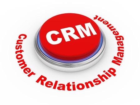 relation clients: Bouton illustration 3D de CRM (Customer Relationship Management) Banque d'images