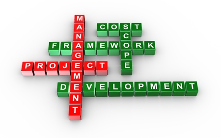 planning process: 3d illustration of crossword of project management Stock Photo