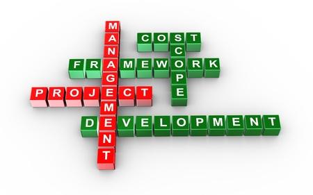 strategic planning: 3d illustration of crossword of project management Stock Photo