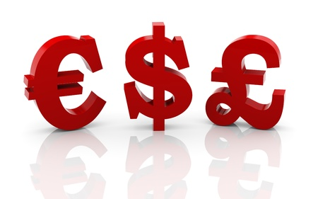 wage: 3d illustration of dollar, pound and euro currency symbols