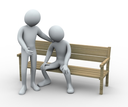 sympathy: 3d illustration of person give sympathy to his frustrated and sad friend.  3d rendering of human character. Stock Photo