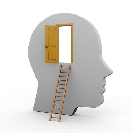 mente humana: Ilustración 3D de una cabeza humana con la puerta abierta y la escalera.