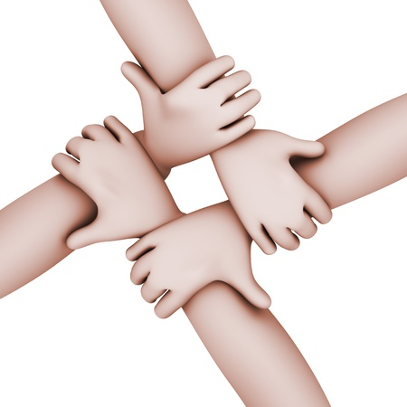 joined hands: 3d top view illustration of four mens hands joined together   Concept of team work
