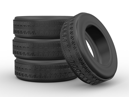 3d rendering of detail four tyres on white background