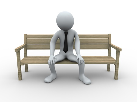 overwrought: 3d illustration of tired sad person sitting on a bench. 3d rendering of human businessman character.