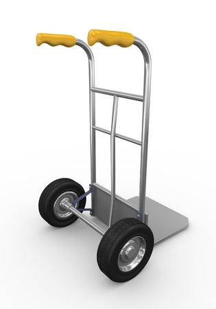 dolly: 3d illustration of detailed metallic hand truck Stock Photo
