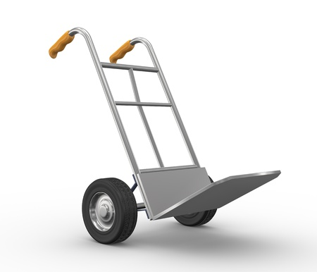 hand truck: 3d illustration of hand truck side view