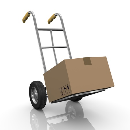 hand truck: 3d illustration of hand truck with cardboard box parcel.