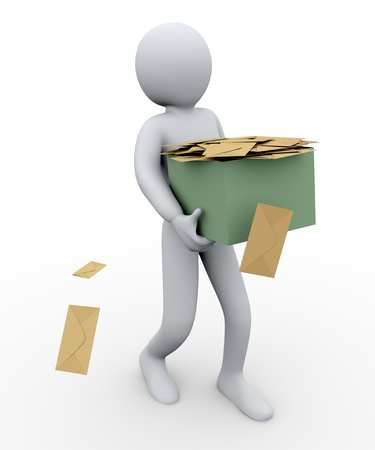 cartoon envelope: 3d illustration of person taking box full of envelopes. 3d rendering of human character Stock Photo