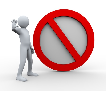 prohibition: 3d illustration of person with stop road sign.  3d rendering of human character.